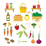 Organic Food Icons Set