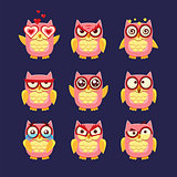 Pink Owl Emoji Collection