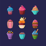 Colorful Cupcakes Set