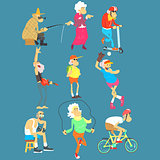 Old People Activities, Vector Illustration Set