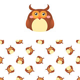 Owl Head Icon And Pattern