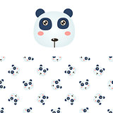 Panda Head Icon And Pattern