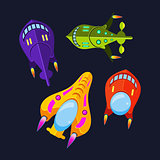 Four Colorful Spaceships