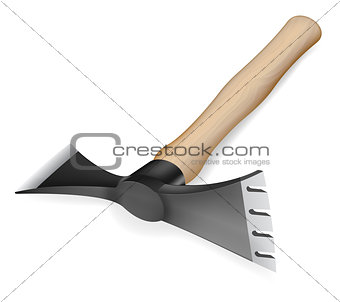 Axe-hoe with wooden handle