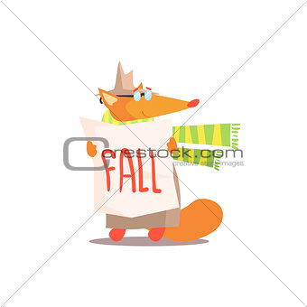 Fox Holding Fall Sign