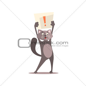Cat Holding Paper With Exclamation Point
