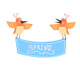 Birds Holding Spring Banner