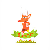 Fox Swinging With Summer Banner