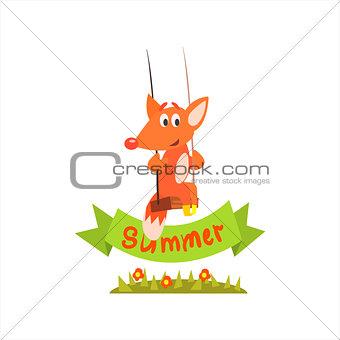 Fox Swinging With Summer Banner