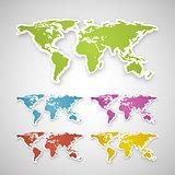 Vector colorful globe map sticker.
