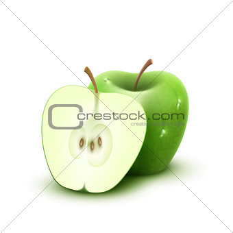 Green apple with water drops, isolated on white background.