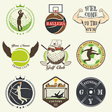 Set of vintage sports emblems