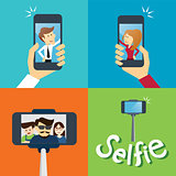 taking a selfie photo flat design