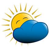 vector illustration. sun behind a cloud
