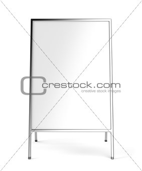 Advertising stand with silver frame