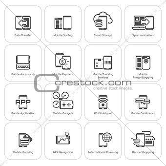 Flat Design Mobile Devices and Services Icons Set.