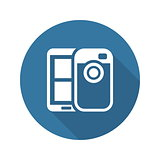Mobile Photo Blogging Icon. Flat Design.