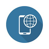 International Roaming Icon. Flat Design.