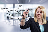 Business woman drawing 3D pie chart at office