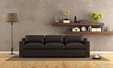 Retro vintage living room with leather sofa