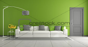 Green contemporary living room
