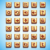 Large set of wooden square buttons for the user interface - computer games and web design