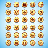 Big set of round buttons cartoon computer game Wild West