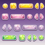 Big set of colorful cartoon buttons - different shapes for the user interface and web design