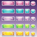 Big set of buttons in glamorous white frame different sizes for the user interface to computer games and web design