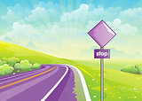 Summer illustration road among fields and sign at the curb
