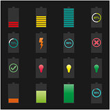 Icons batteries, vector illustration.