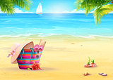 Summer illustration with a beach bag in the sand against sea and white sailboat