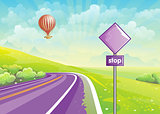 Summer illustration with highway, meadows and a balloon in the sky.. Set 2.
