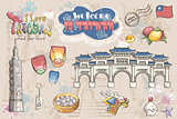 Big set of various attractions. Asia. Travel concept