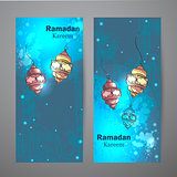 Set of two vertical banners for Ramadan Kareem.