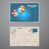 Set two sides of a postcard to Ramadan Kareem.
