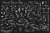 Hand drown set on black background of pencil elements