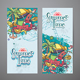 Colored set of vertical banners with summer doodles