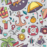 Colored vector texture with summer doodles