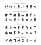 Set icons fo hobbies, leisure, household, clothes, accessories, appliances