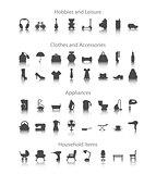 Set icons fo hobbies, leisure, household, clothes, accessories, appliances