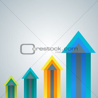 Group of growing colorful arrow charts