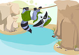 Scout raccoon Mountaineer rope. Scout crossing river on rope