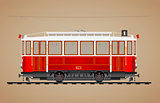 Traditional red tram