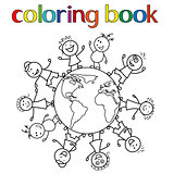 Children around the globe for coloring book