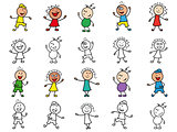 Set of twenty cartoon cheerful characters