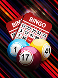 Bingo balls and cards on striped background