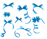 Blue Ribbon and Bow Set for Your Design. Vector illustration
