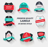 Vector Premium Quality Label Set in Flat Modern Design with Long