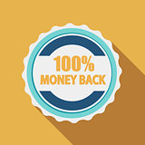 Label Sign 100% Money Back Quality in Flat Modern Design